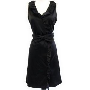 ELIZA J Black Satin Ruffle Front Dress Bow Belt 8